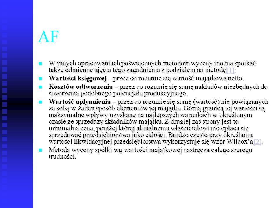 AF W innych opracowaniach poświęconych metodom wyceny można spotkać także odmienne ujęcia tego zagadnienia z podziałem na metodę[1]: